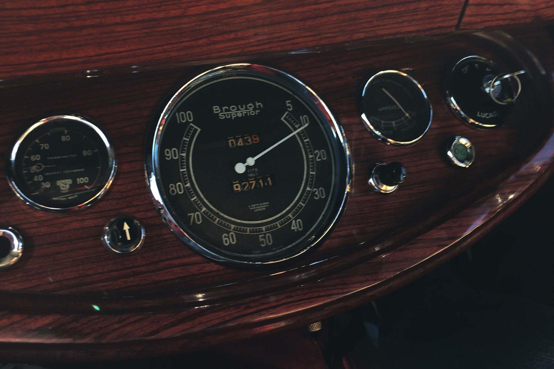 Brough Superior instrument panel. Photo by Simon Aldridge.