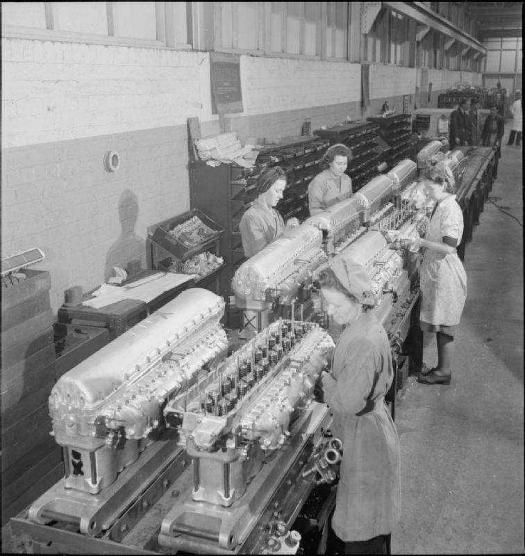 Hillington Merlin production line in 1942.